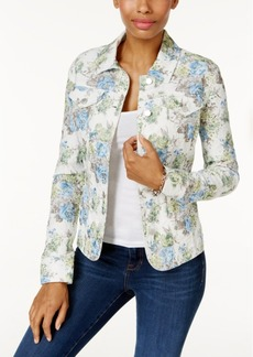 Charter Club Floral Jacquard Denim Jacket, Only at Macy's