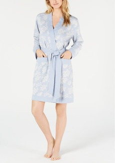 Charter Club Floral Jacquard Knit Short Robe
