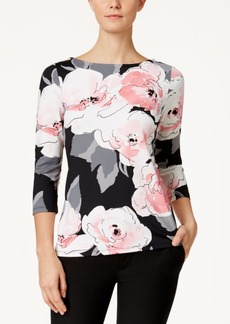 Charter Club Floral-Print Boat-Neck Top, Only at Macy's
