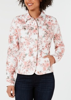 Charter Club Petite Floral Denim Jacket, Created for Macy's