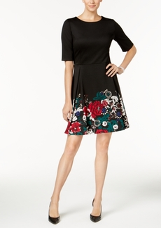 Charter Club Petite Floral-Hem Fit & Flare Dress, Created for Macy's