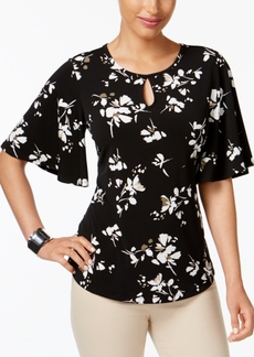 Charter Club Floral-Print Flutter-Sleeve Top, Created for Macy's