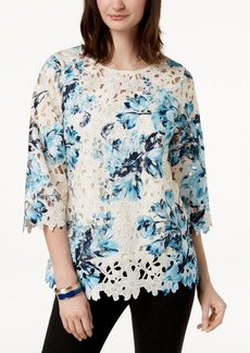 Charter Club Floral-Print Lace Top, Created for Macy's