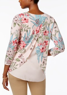 Charter Club Floral-Print Layered-Back Top, Only at Macy's