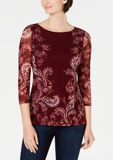 Charter Club Floral-Print Mesh Top, Created for Macy's