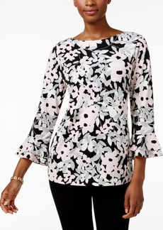 Charter Club Floral-Print Ruffled Top, Only at Macy's