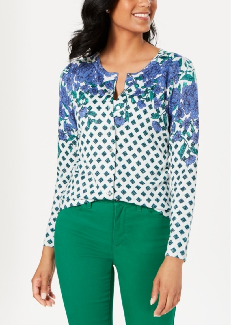 Charter Club Floral Print Sparkle Cardigan, Created for Macy's