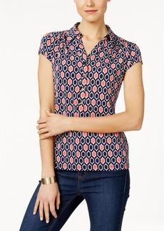 Charter Club Geo-Print Polo Top, Only at Macy's