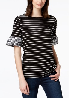 Charter Club Petite Striped Contrast-Sleeve Top, Created for Macy's