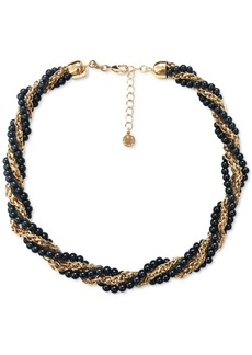 """Charter Club Gold-Tone Chain & Colored Imitation Pearl Bead Twist Multi-Row Collar Necklace, 17"""" + 2"""" extender, Created for Macy's"""