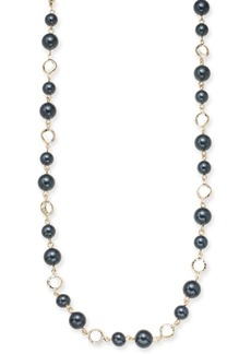 "Charter Club Gold-Tone Crystal & Colored Imitation Pearl Strand Necklace, 42"" + 2"" extender, Created for Macy's"
