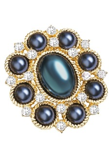 Charter Club Gold-Tone Crystal & Navy Imitation Pearl Cluster Pin, Created for Macy's