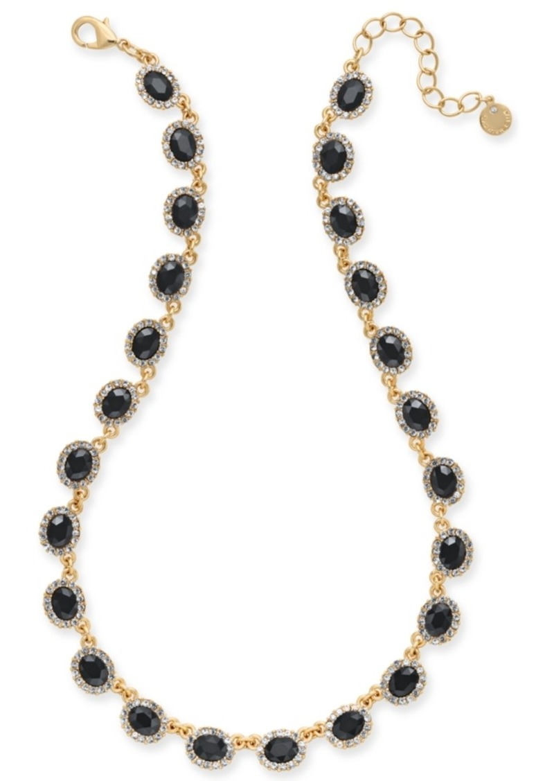 """Charter Club Gold-Tone Crystal & Oval Stone Collar Necklace, 17"""" + 2' extender, Created for Macy's"""
