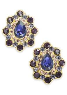 Charter Club Gold-Tone Crystal & Stone Button Earrings, Created for Macy's
