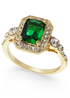 Charter Club Gold Plate Crystal & Stone Square Halo Ring, Created for Macy's