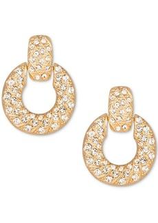 Charter Club Gold-Tone Crystal Doorknocker Drop Earrings, Created for Macy's