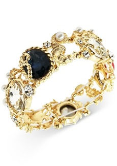 Charter Club Gold-Tone Crystal, Stone & Imitation Pearl Stretch Bracelet, Created for Macy's