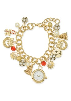 Charter Club Holiday Lane Gold-Tone Crystal, Stone & Imitation Pearl Watch Charm Bracelet, Created for Macy's
