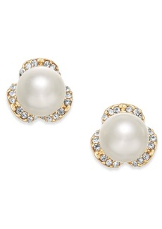 Charter Club Imitation Pearl & Pave Stud Earrings, Created for Macy's