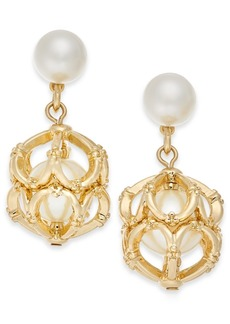 Charter Club Gold-Tone Imitation Pearl Cage Drop Earrings, Created For Macy's