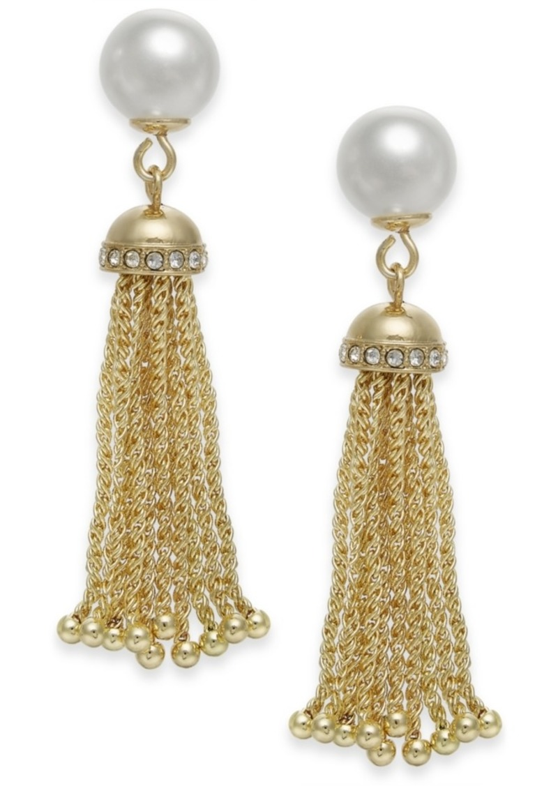 Charter Club Gold-Tone Imitation Pearl Tassel Drop Earrings, Created for Macy's