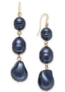 Charter Club Gold-Tone Imitation Pearl Triple Drop Earrings, Created for Macy's