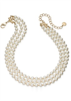 """Charter Club Gold-Tone Imitation Pearl Triple-Row Choker Necklace, 14"""" + 3"""" extender, Created for Macy's"""