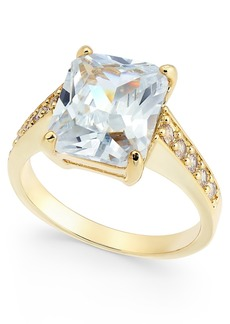 Charter Club Gold-Tone Large Emerald-Cut Crystal Ring, Created for Macy's