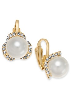Charter Club Gold-Tone Pave & Imitation Pearl Poppy Clip-On Button Earrings, Created for Macy's