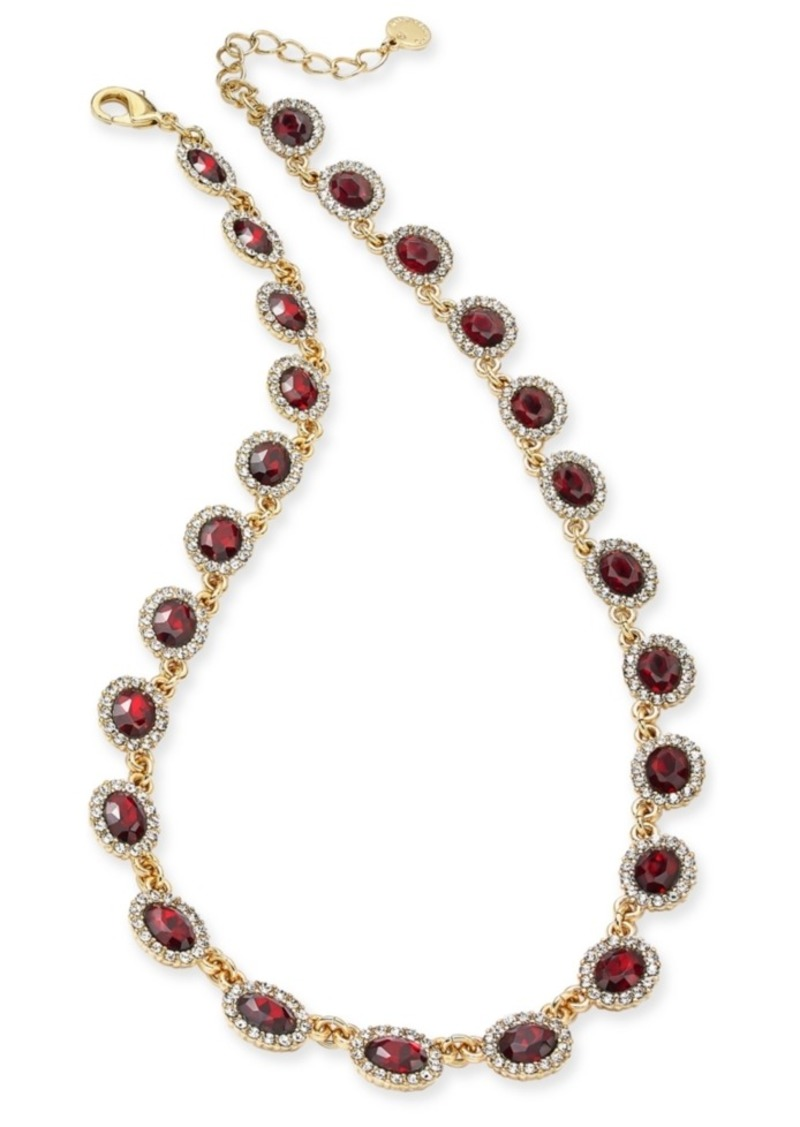 """Charter Club Gold-Tone Pave & Stone Collar Necklace, 17"""" + 2"""" extender, Created for Macy's"""