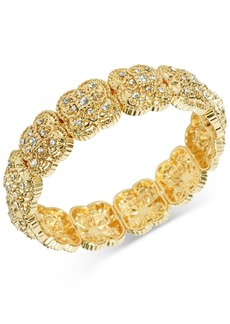 Charter Club Gold-Tone Pave Flower Stretch Bracelet, Created for Macy's