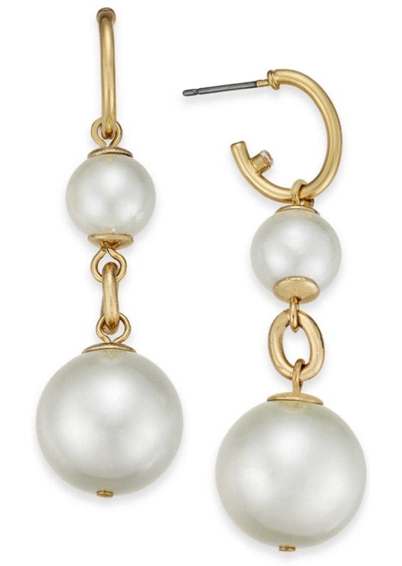 Charter Club Gold-Tone Pave Hoop & Imitation Pearl Double Drop Earrings, Created For Macy's