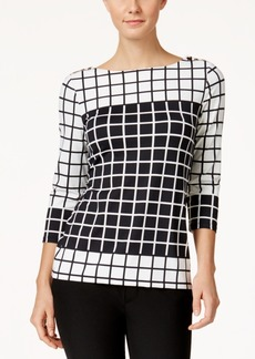 Charter Club Grid-Print Boat-Neck Top, Only at Macy's