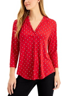 Charter Club Petite 3/4-Sleeve Dual-Colored Heart Blouse, Created for Macy's