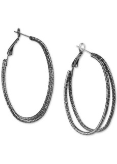 """Charter Club Hematite-Tone Wire Double Large Hoop Earrings, 2"""", Created for Macy's"""