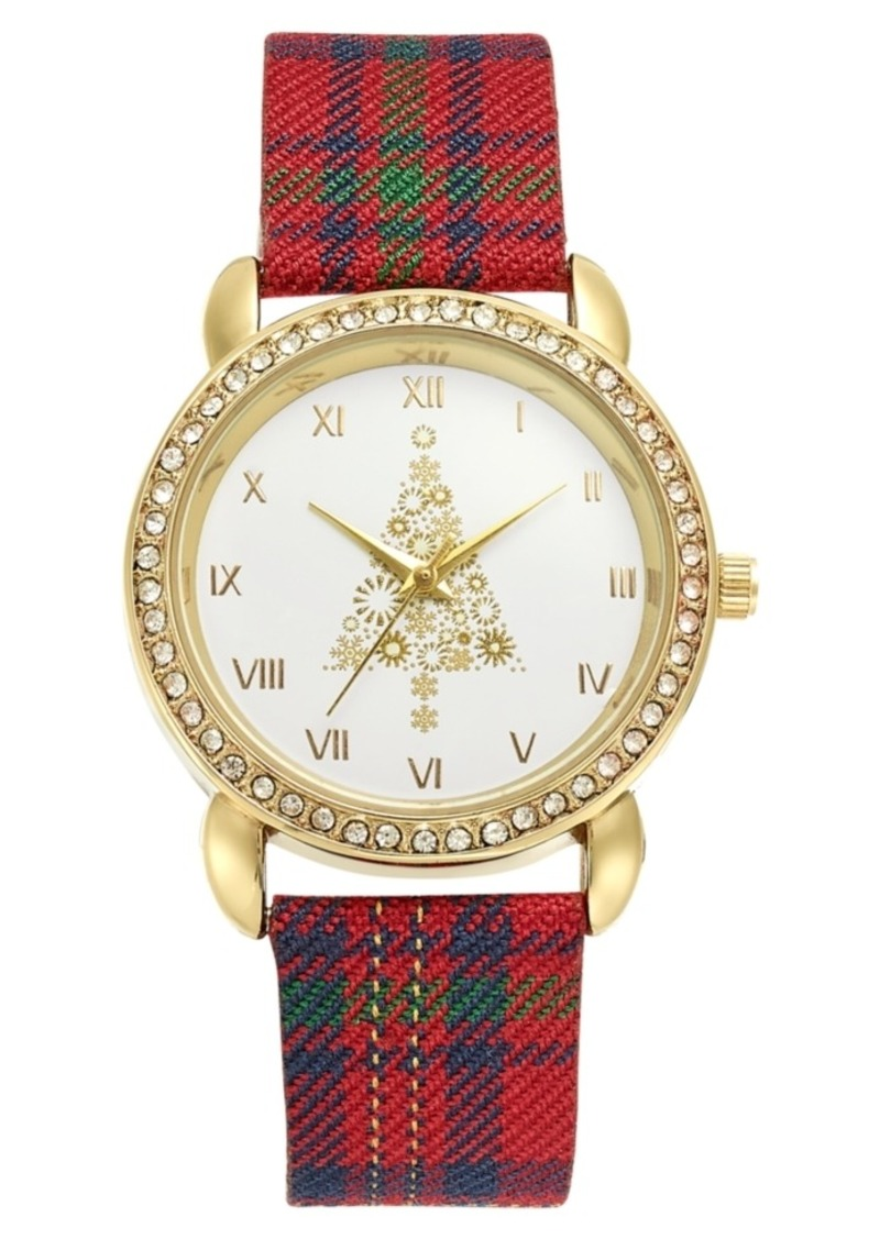 Charter Club Holiday Lane Holiday Tree Plaid Strap Watch 36mm, Created for Macy's