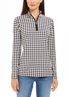 Charter Club Petite Houndstooth Print Half-Zip Top, Created For Macy's