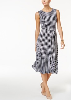 Charter Club Petite Geo-Print Belted Fit & Flare Dress, Only At Macy's