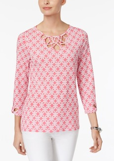 Charter Club Iconic-Print Cutout-Neck Top, Only at Macy's