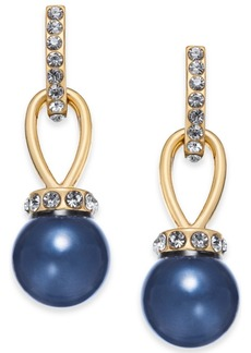 Charter Club Imitation Pearl and Pave Drop Earrings, Created for Macy's