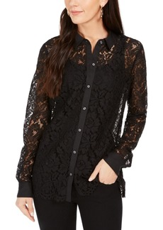 Charter Club Lace Button-Down Top, Created For Macy's