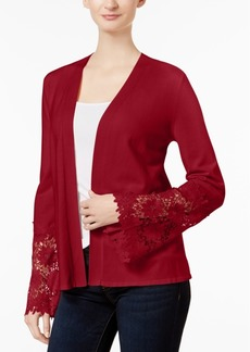 Charter Club Lace-Contrast Open-Front Cardigan, Created for Macy's