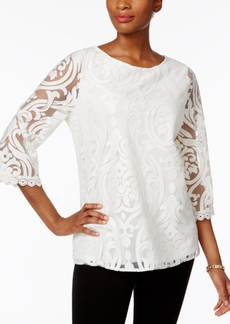 Charter Club Lace Mesh Swing Top, Only at Macy's