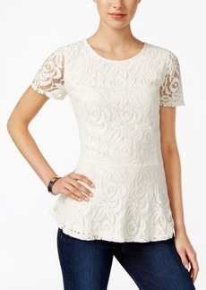 Charter Club Lace Peplum Top, Only at Macy's