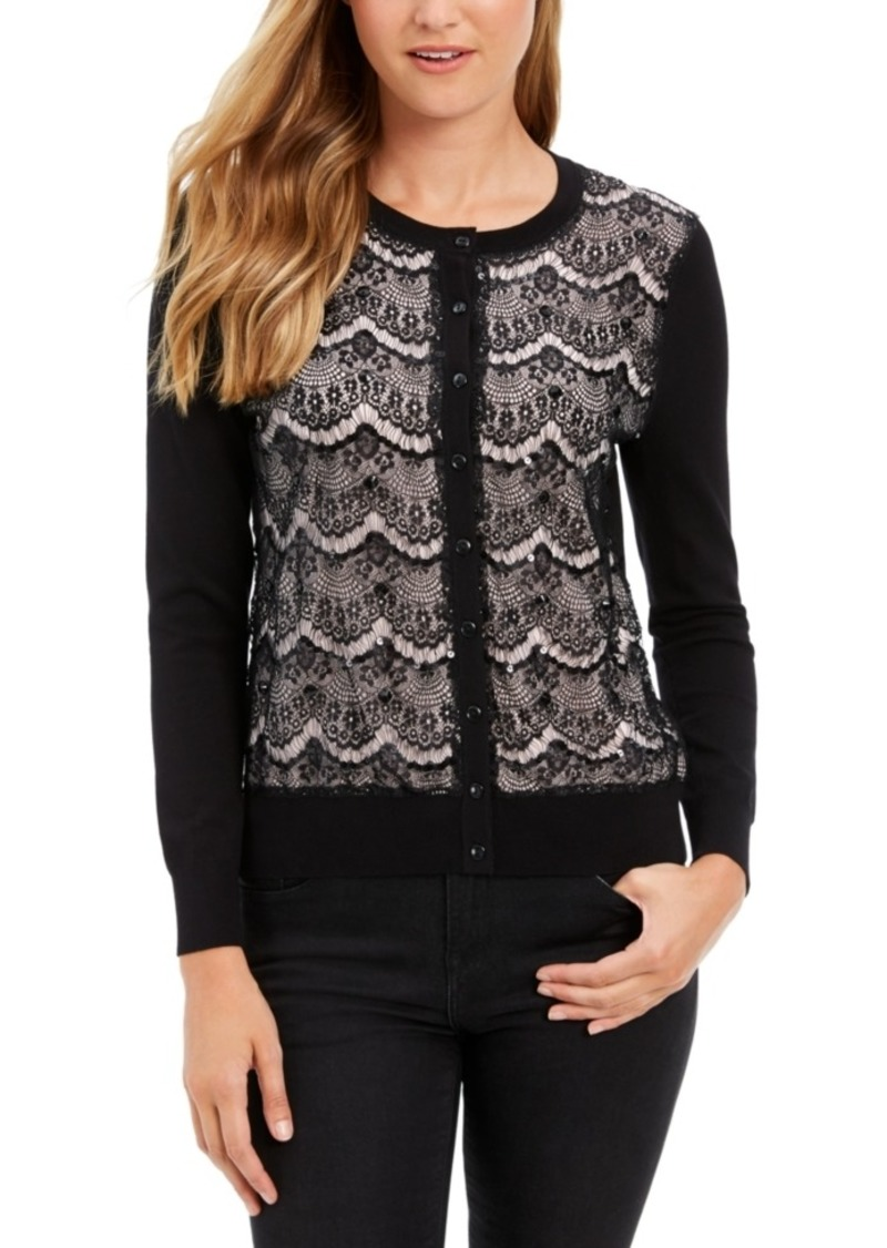 Charter Club Lace Sequin Button Sweater, Created For Macy's