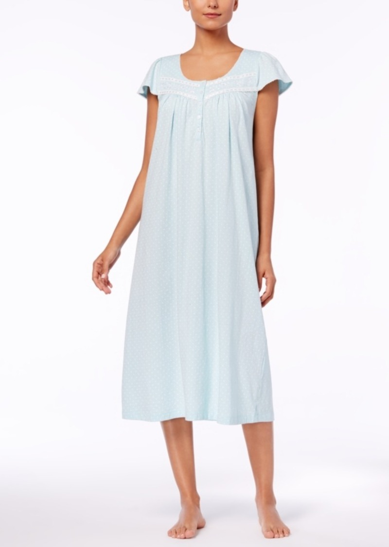 Charter Club Charter Club Lace-Trim Cotton Nightgown, Created for ...