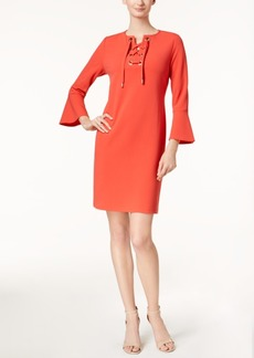 Charter Club Lace-Up Bell-Sleeve Dress, Created for Macy's
