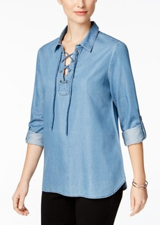 Charter Club Lace-Up Denim Top, Only at Macy's