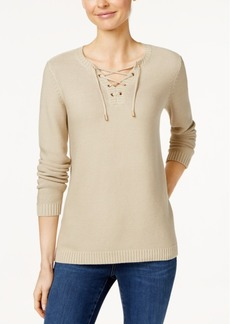 Charter Club Lace-Up Sweater, Only at Macy's