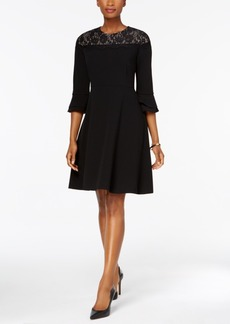 Charter Club Lace-Yoke Fit & Flare Dress, Created for Macy's
